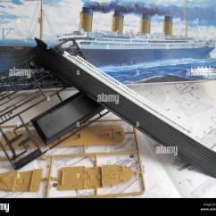 Titanic Boat Diagram Conduit Wiring A Kit Model And The Unassembled Parts Of Ship