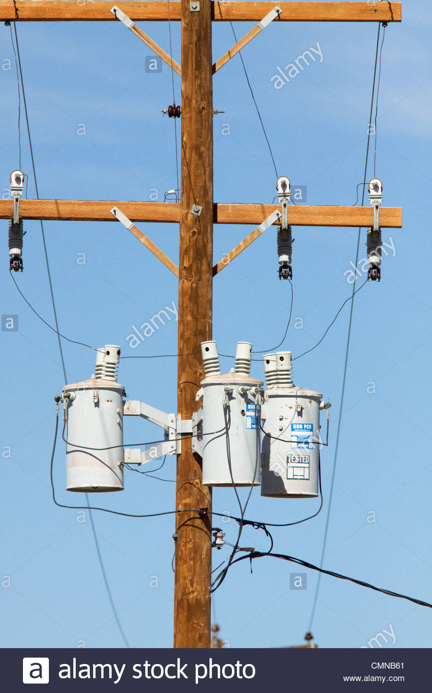 medium resolution of three phase transformers mounted power pole new mexico stock image