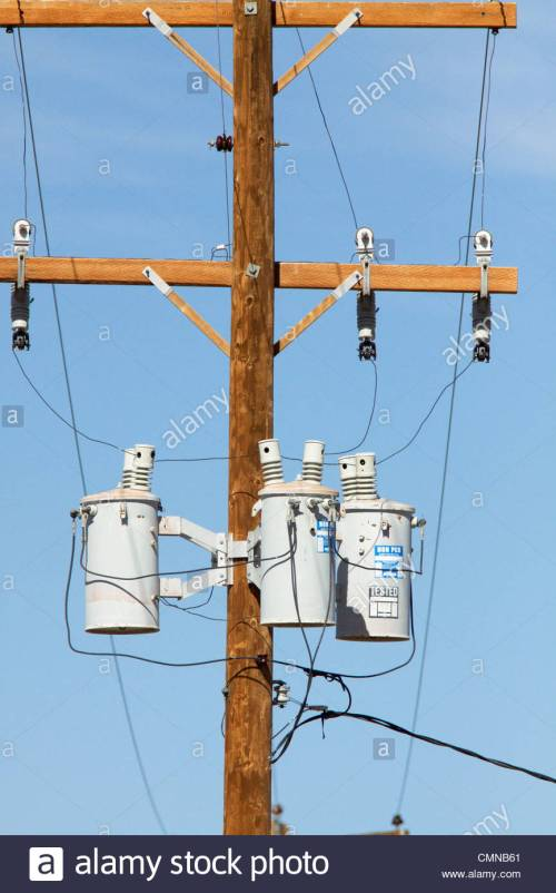 small resolution of three phase transformers mounted power pole new mexico stock image