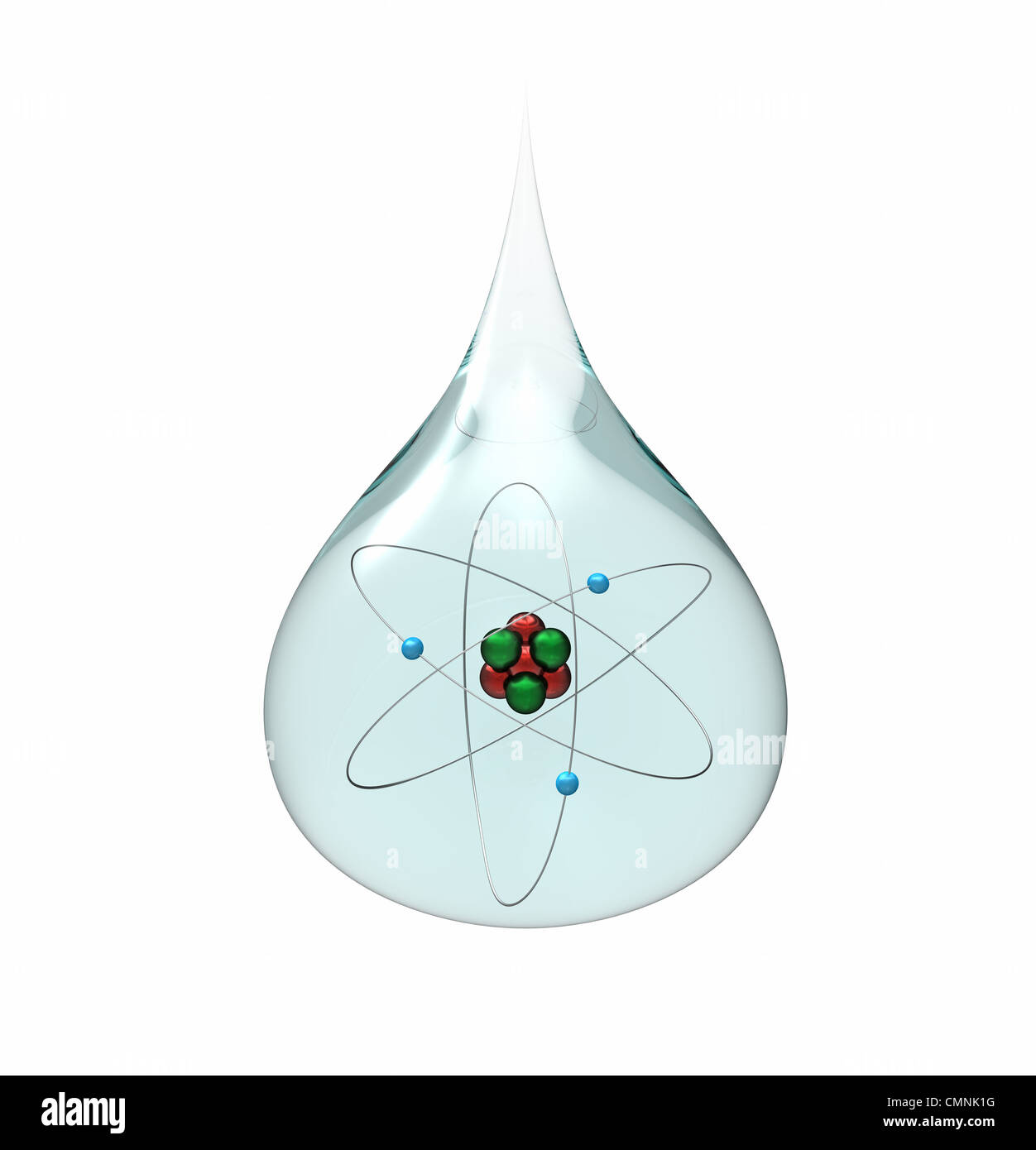 hight resolution of model of a lithium atom in a drop of water isolated on white 3d