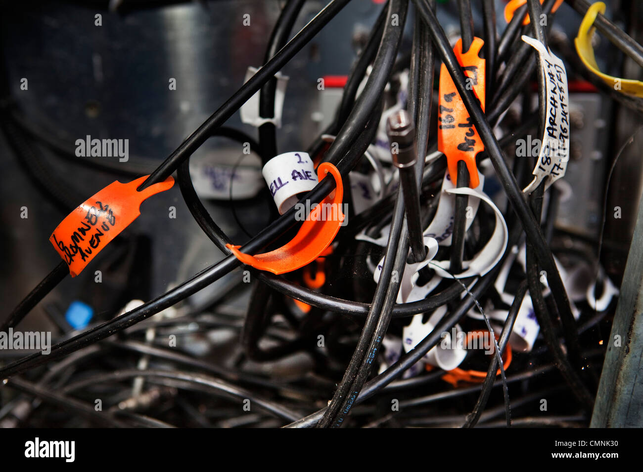 hight resolution of wires in street junction box for cable tv stock image