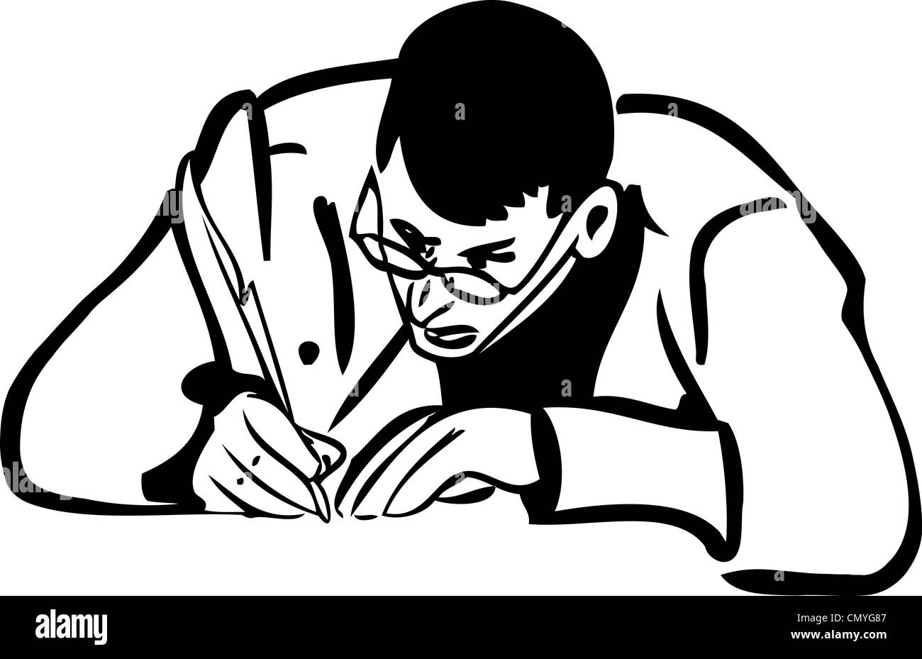 A Sketch Of A Man With Glasses Writing Quill Pen Stock