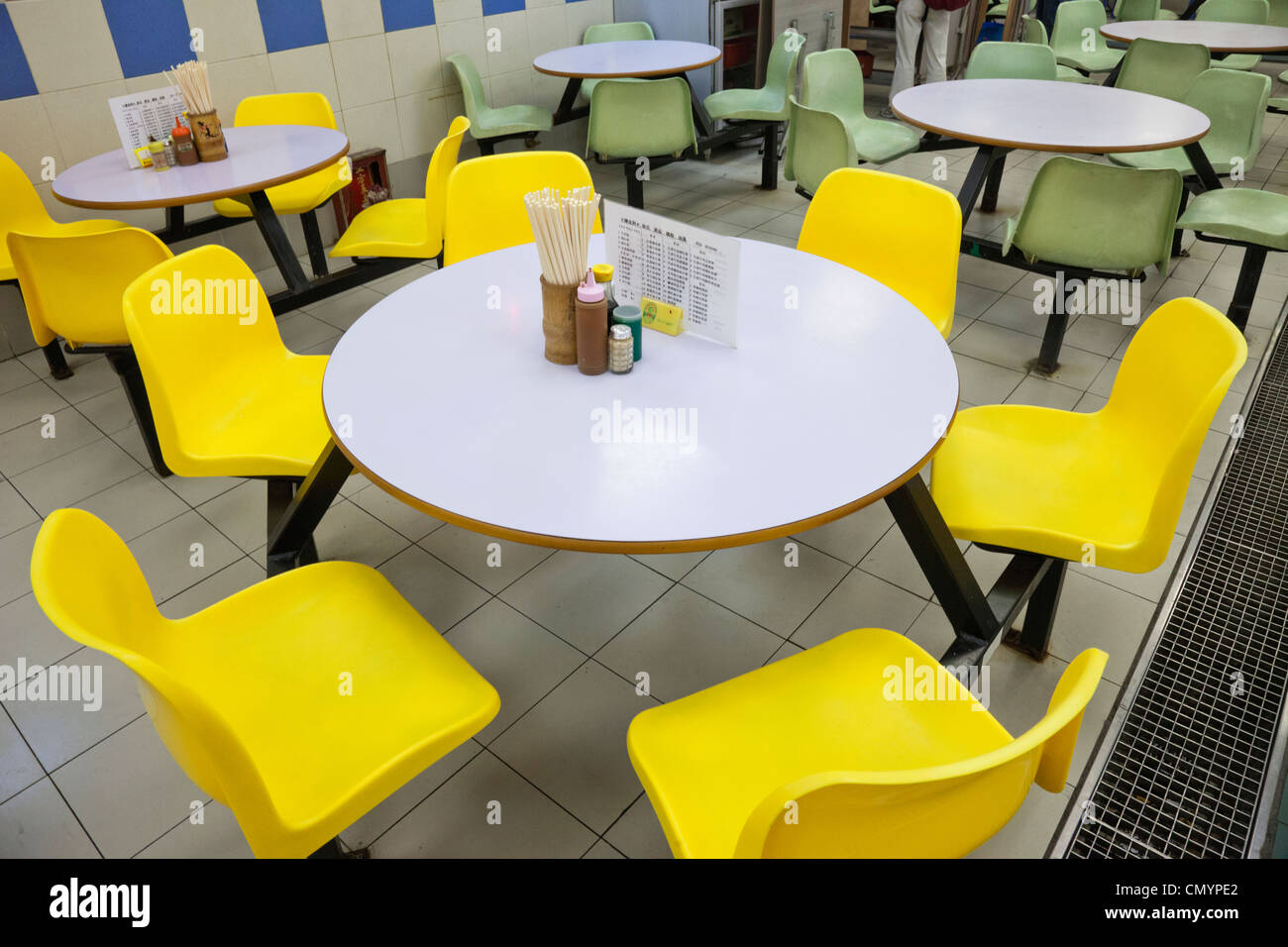 dining table and chairs hong kong ergonomic chair singapore china food court stock photo