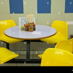Dining Table And Chairs Hong Kong Ez Chair Barber Shop China Food Court Stock Photo