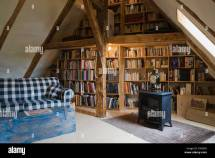 Library In Attic Of 18th Century Home Quebec Canada