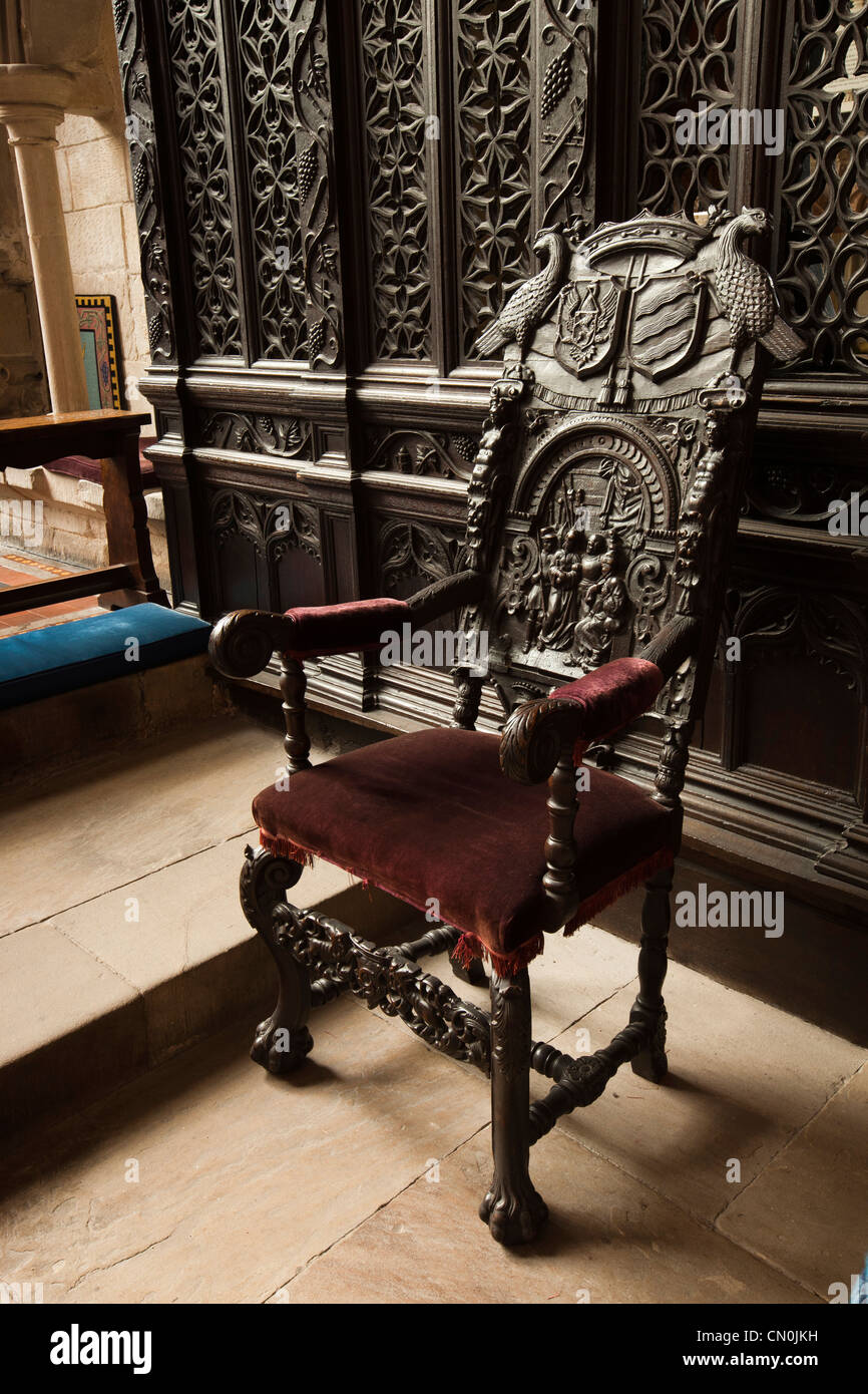 wooden church choir chairs tell city 4620 carved wood chair stock photos uk cumbria cartmel priory ornately image