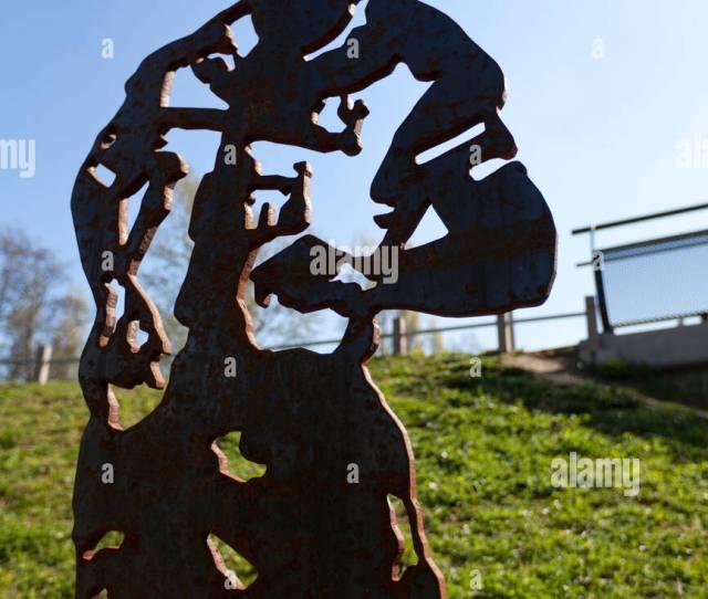 A Sculpture Of Tottenham England Footballer Ledley King Near Meath Bridge Mile End Park
