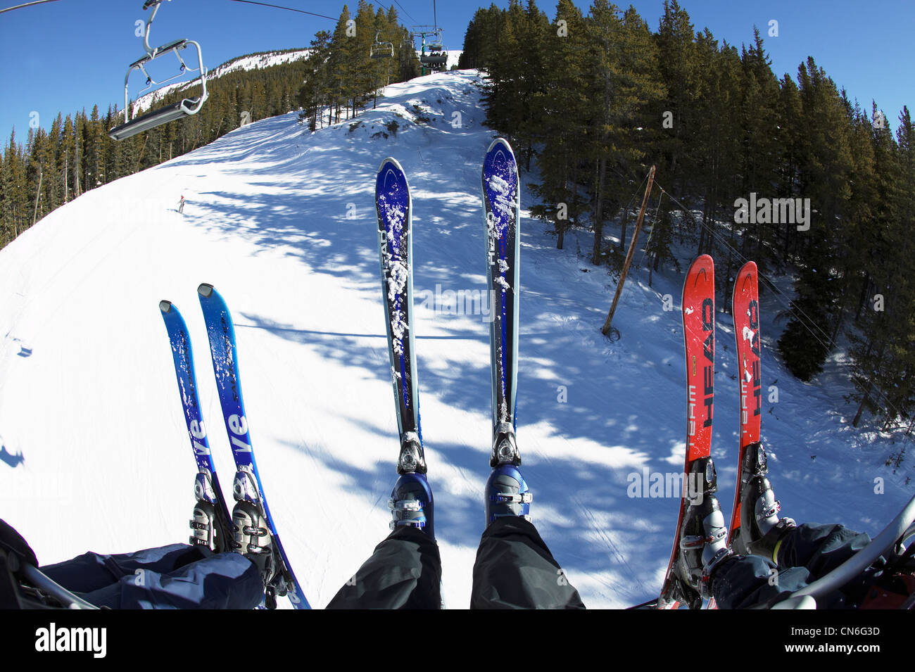 buy ski lift chair patio rocking looking down from with three pairs of skis in