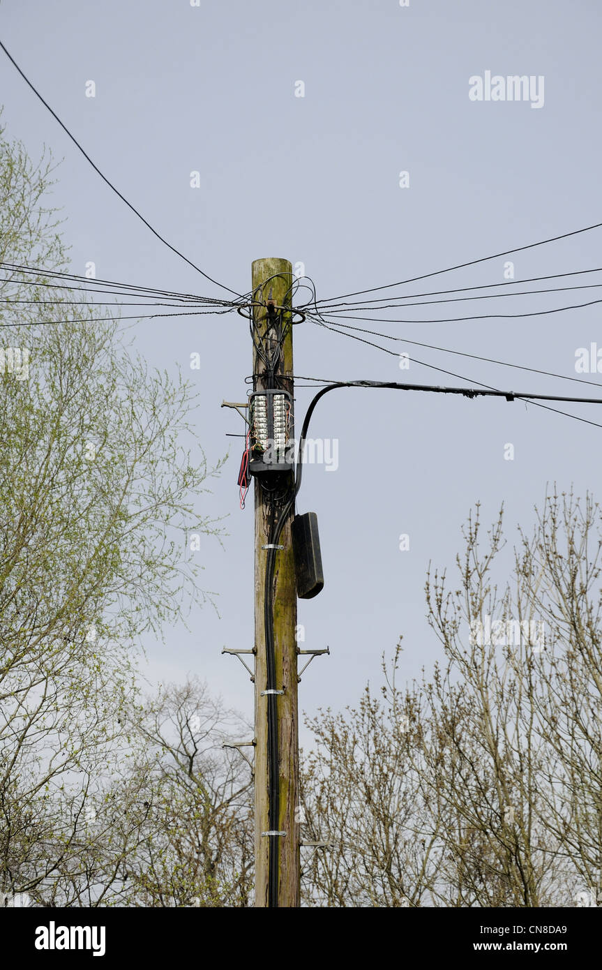 hight resolution of telephone pole and wires with open box and cover hanging down