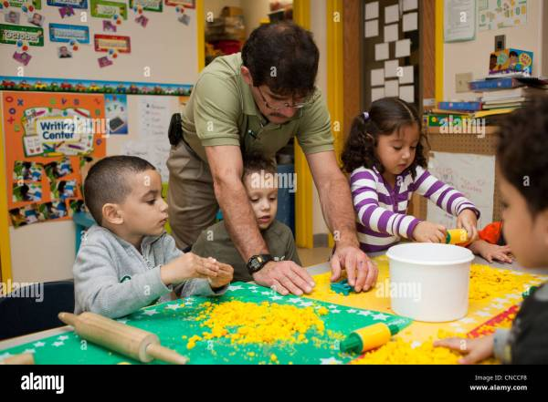Teacher Kindergarten Students In Classroom Stock