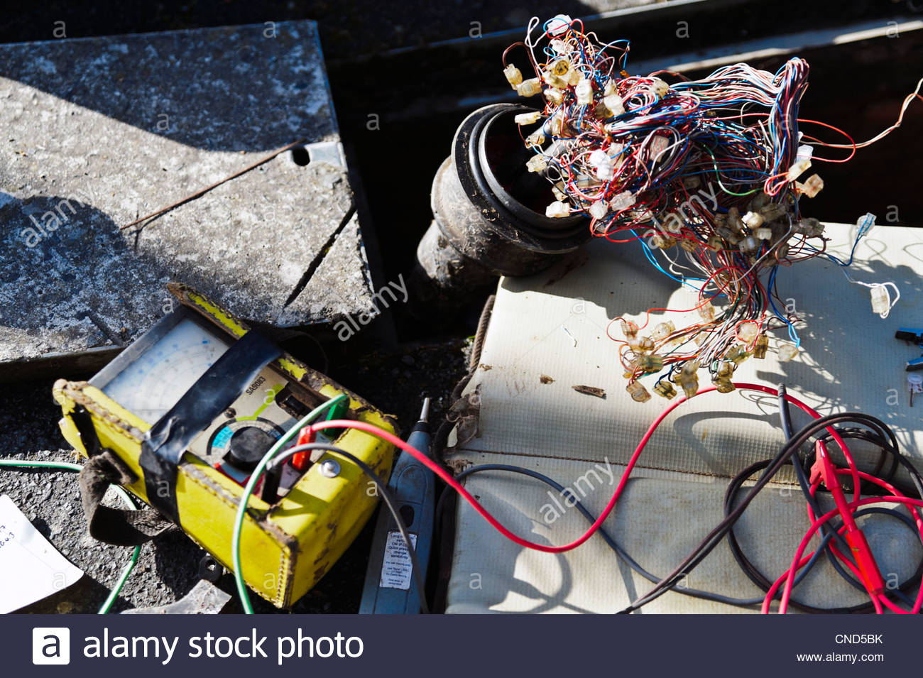 hight resolution of engineering test meter looking for a fault on underground telephone wires uk telephone cable
