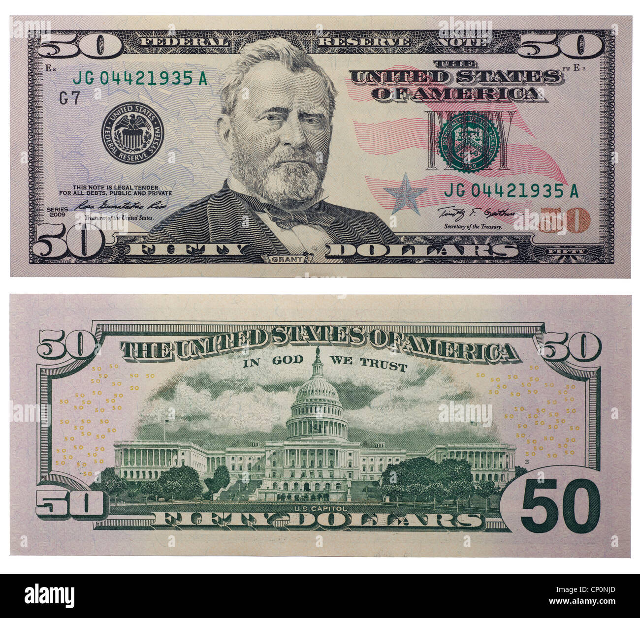 Fifty Dollar Bill Back And Front Stock Photo