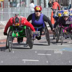 Wheelchair Marathon Wood Rocking Chairs For Sale London Participants Stock Photo