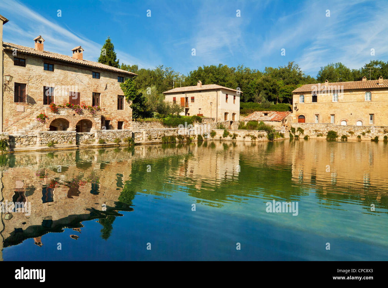 Bagno Vignoni Piazza delle Sorgenti a pool with natural hot spring Stock Photo 48213595  Alamy