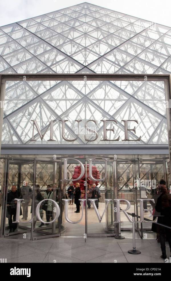 Pyramid Entrance Louvre Paris France Europe Stock Royalty Free
