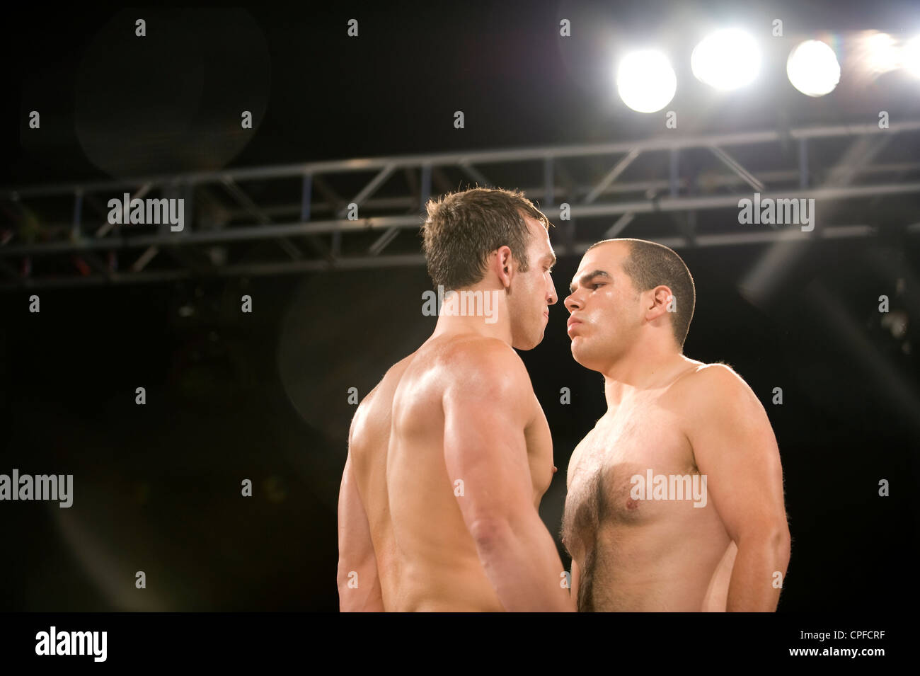 mma fighters staring down