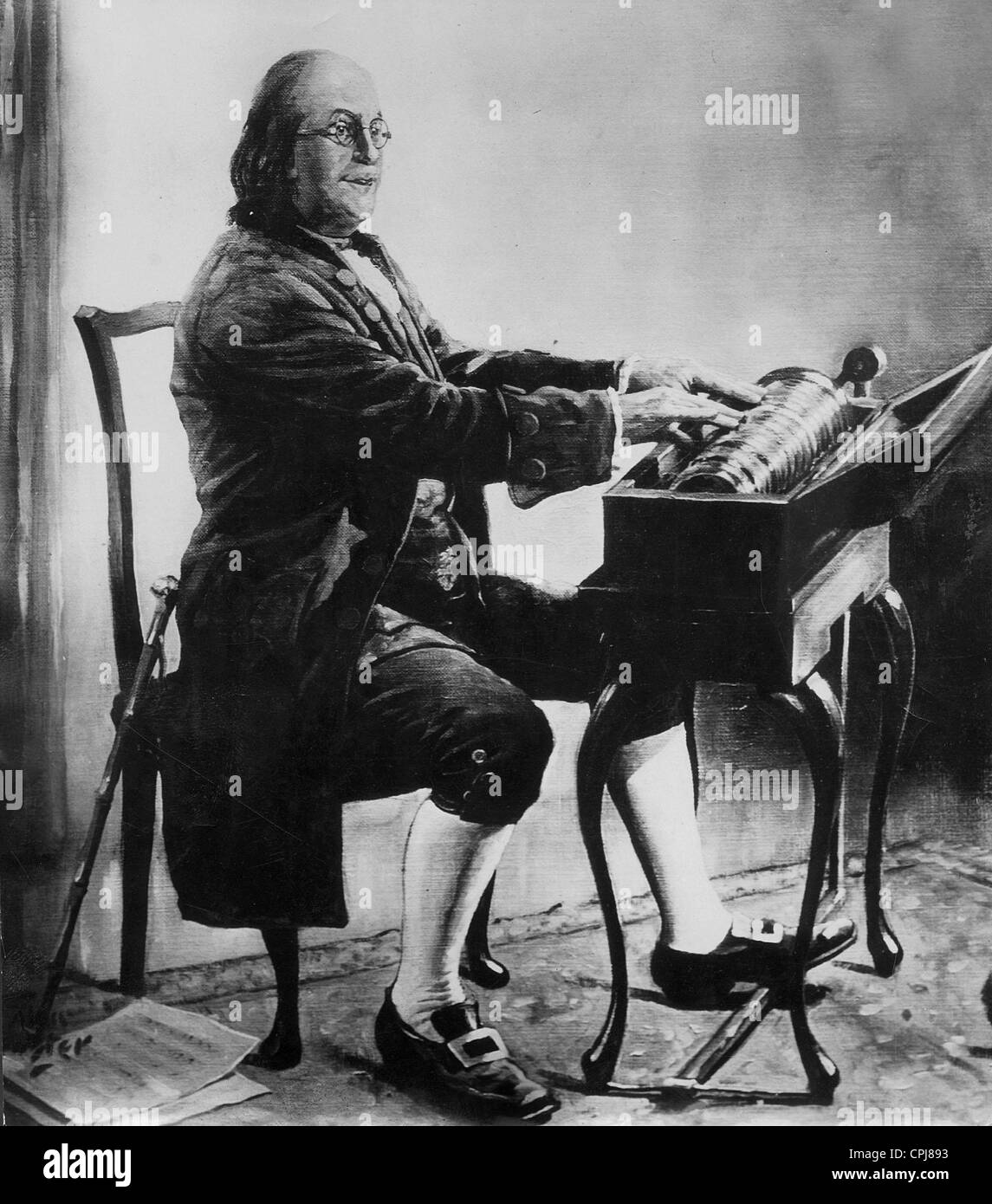 Benjamin Franklin With A Glass Harmonica Stock Photo