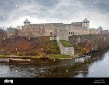Ivangorod Fortress Narva River. Border