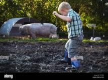 Young Boy Walking Mud Stock Royalty Free