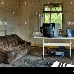 Tv Sofa Green Set Leather Living Room Old Ruinous House Stock Photo 48735922 Alamy