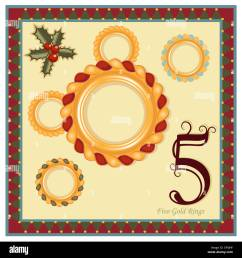 the 12 days of christmas 5th day five gold rings religious festive greeting card  [ 1300 x 1390 Pixel ]