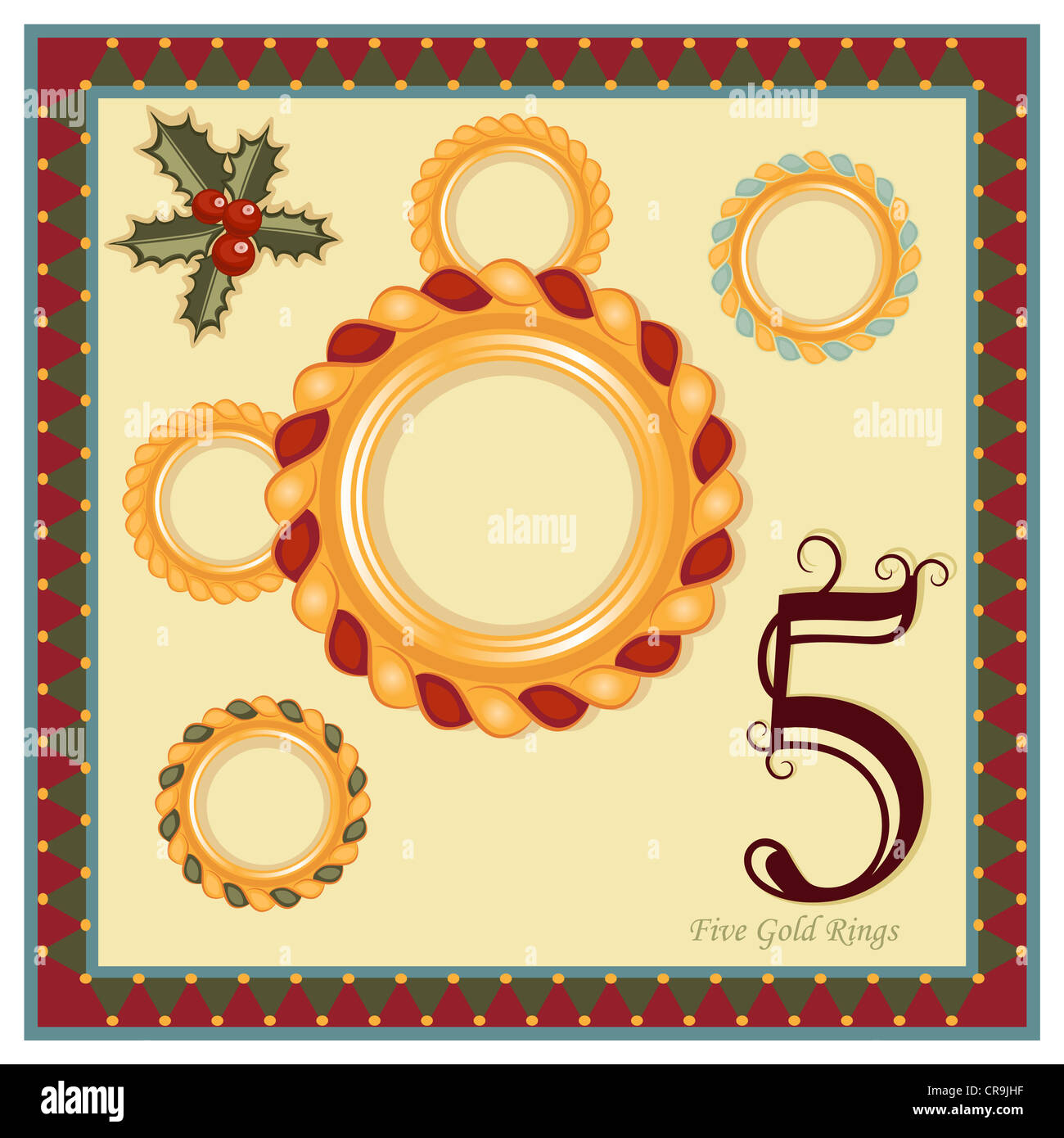 hight resolution of the 12 days of christmas 5th day five gold rings religious festive greeting card