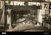 Colonial Kitchen Cooking Fireplace Stock Photo, Royalty ...