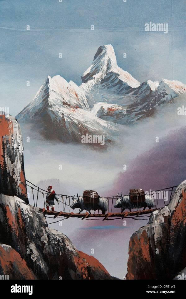 Nepal Himalayas Bridge Painting