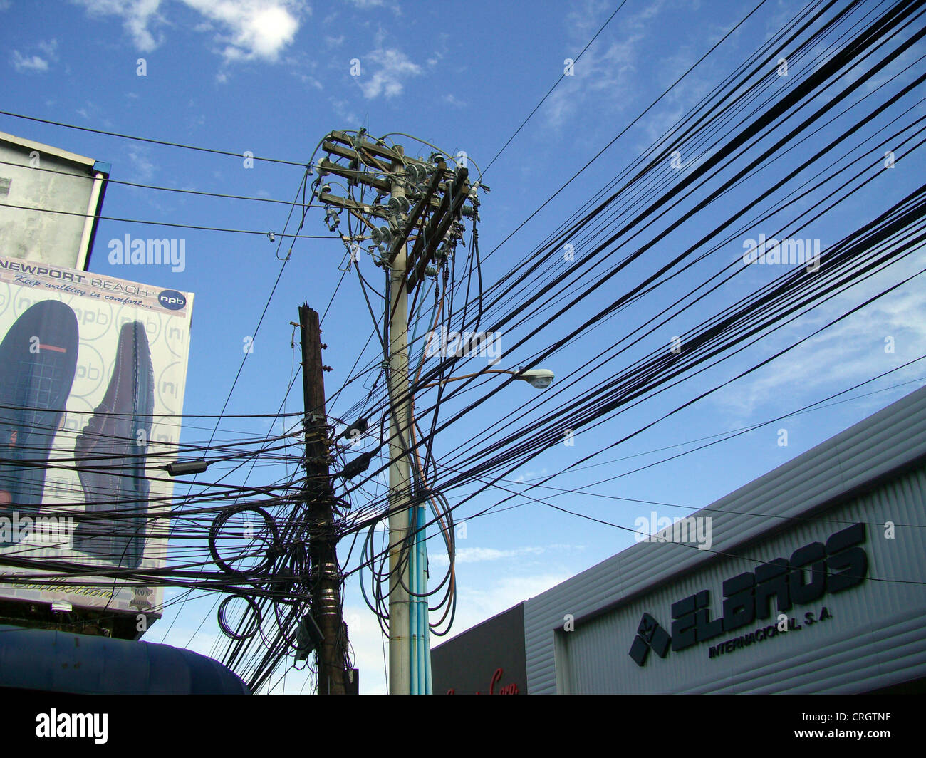 hight resolution of mess of electric cables and telephone wires panama colon