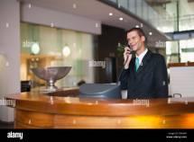 Hotel Concierge Talking Phone Stock Royalty Free