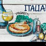Wall Art Advertising Illustration Of Food At An Italian Restaurant Stock Photo Alamy
