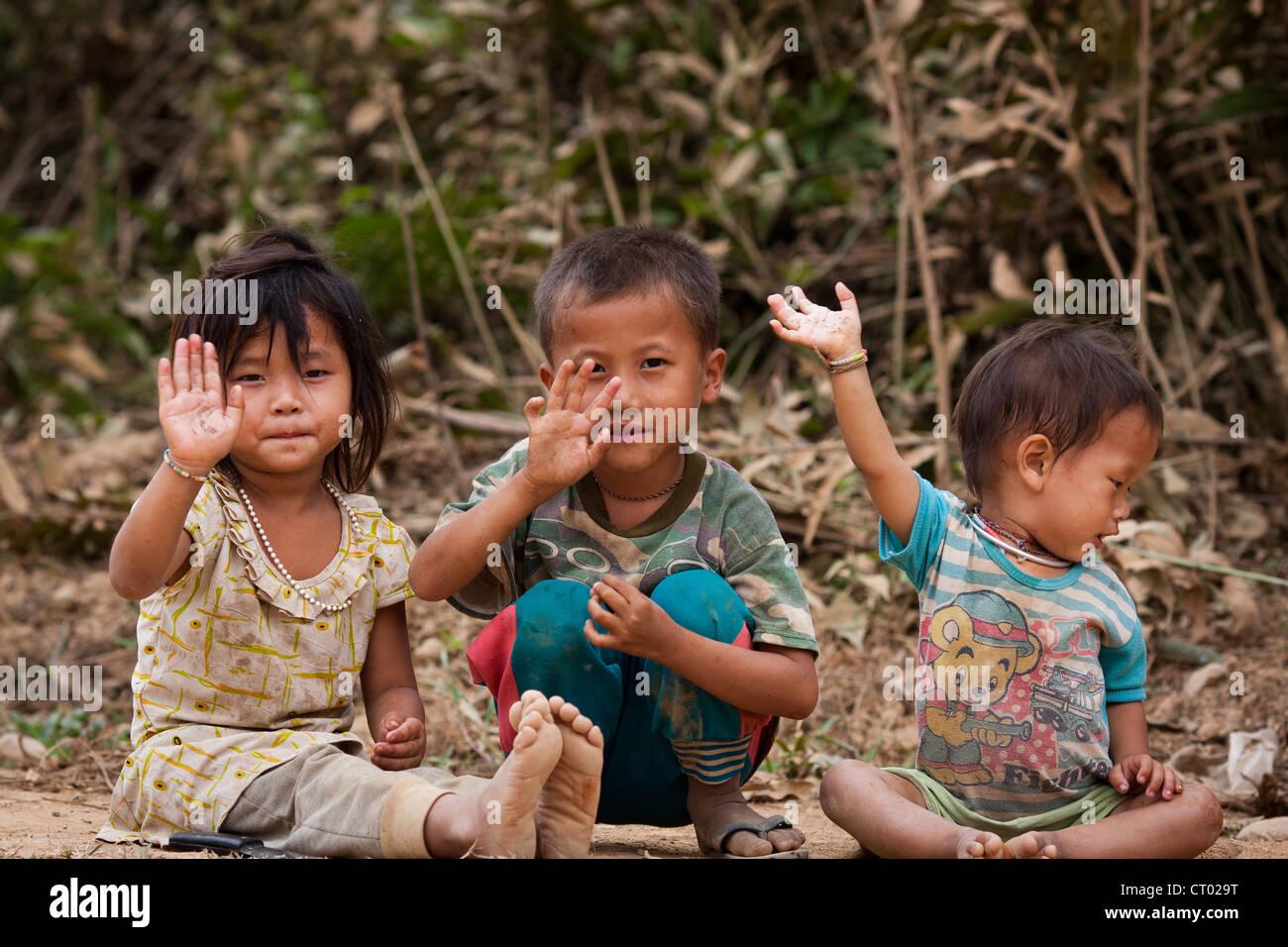 happy poor kids stock