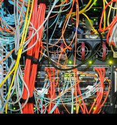 close up of wires on server stock image [ 1300 x 978 Pixel ]