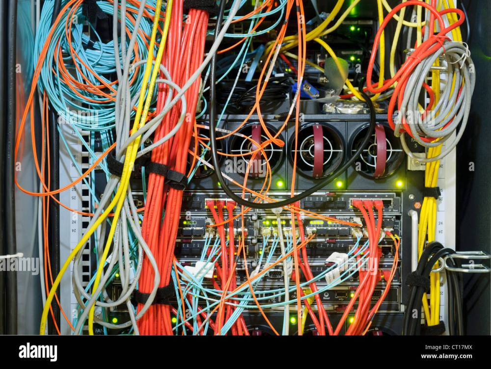 medium resolution of close up of wires on server stock image