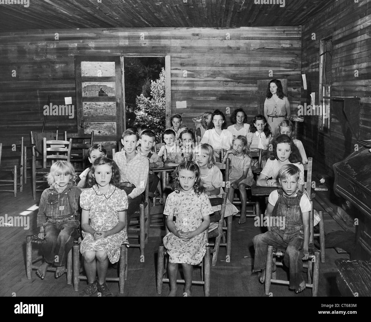 Pupils And Teacher In One Room Schoolhouse Kentucky Stock