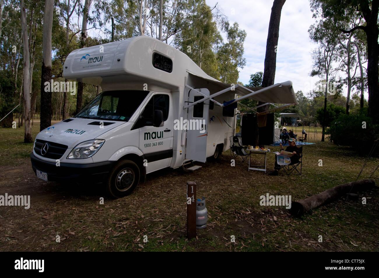 a camper having breakfast