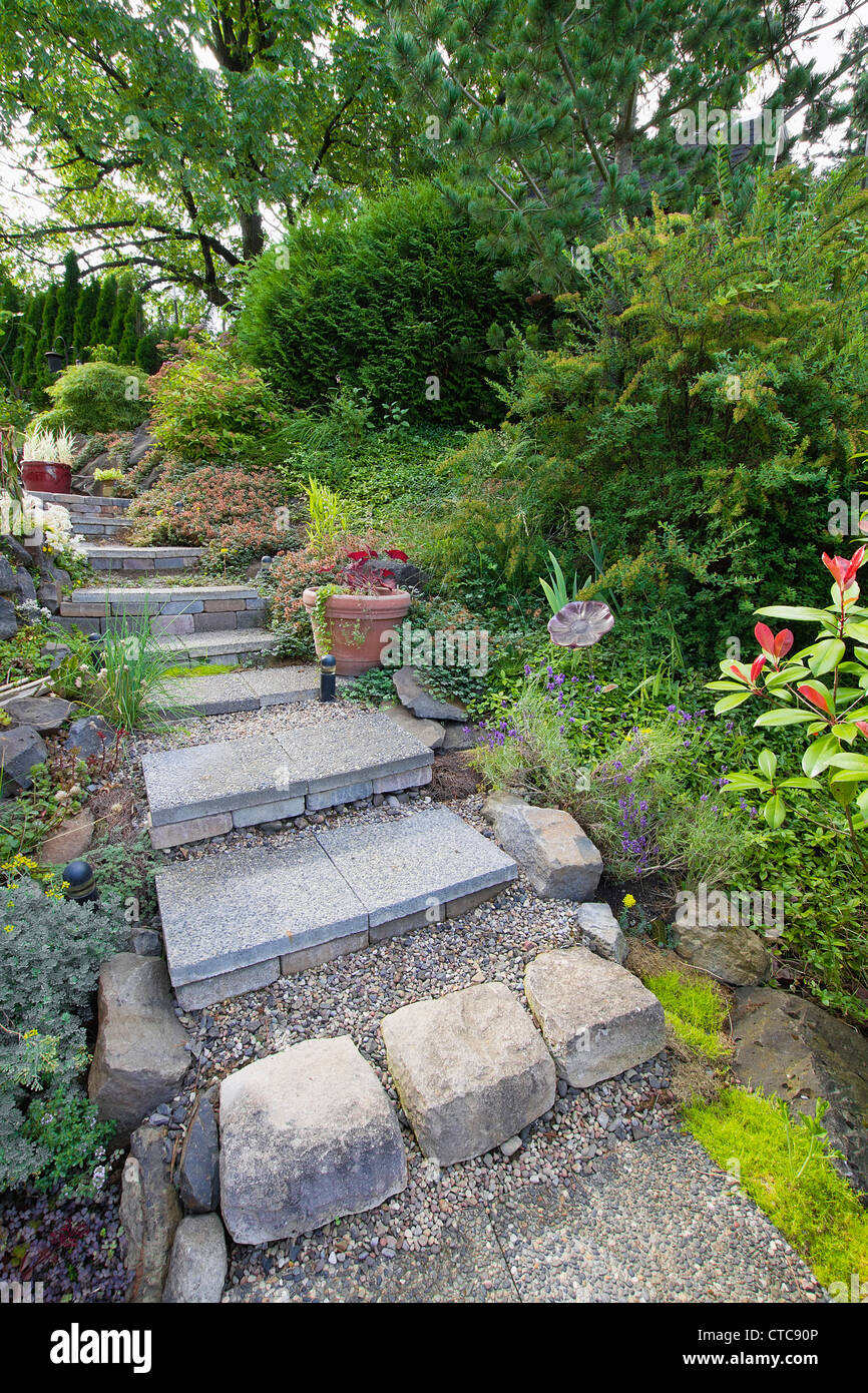 https www alamy com stock photo garden cement tile stair steps leading up to backyard patio 49442982 html