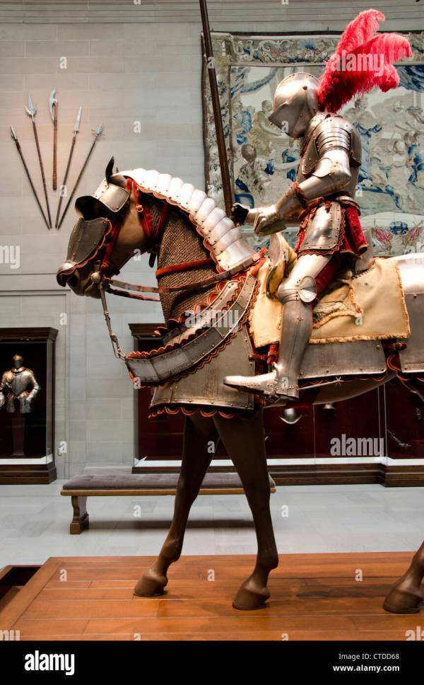 Suit Of Armor Horse Stock &