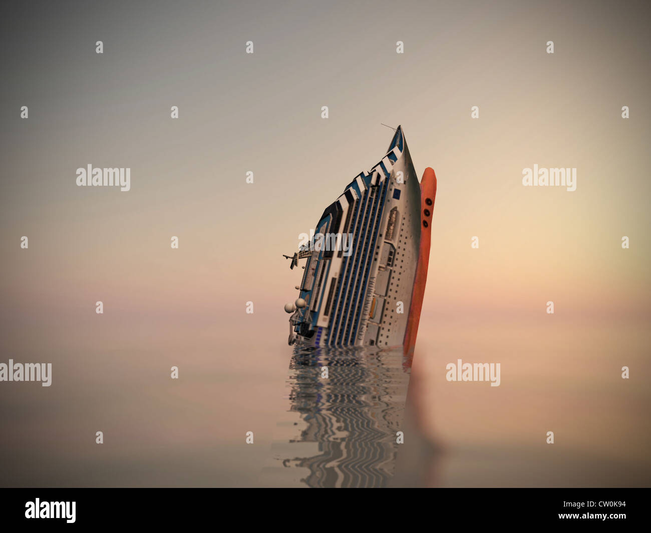 Cruise Ship Sinking In The Sea Stock Photo