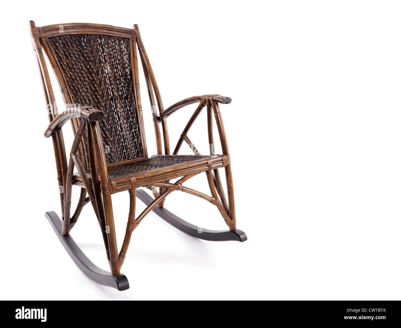 White Wicker Rocking Chair Antique Wooden Wicker Rocking Chair Isolated On White