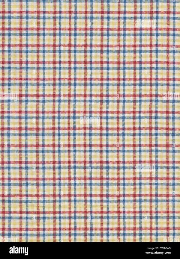 Red White Blue And Yellow Plaid Gingham Fabric Background