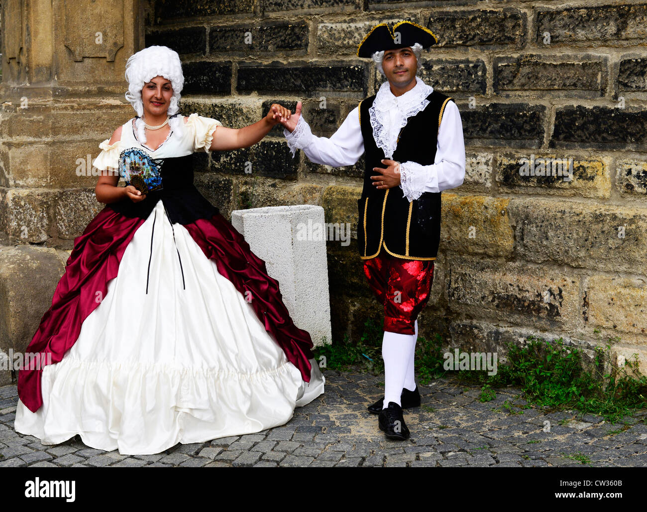 An Italian Couple Dressed In Traditional 17th 19th Century