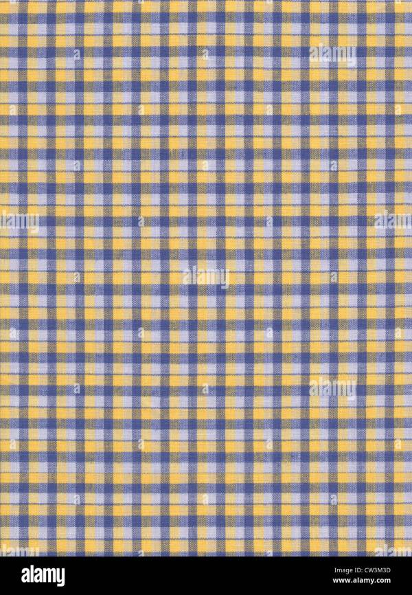White Yellow And Blue Plaid Fabric Textile Background
