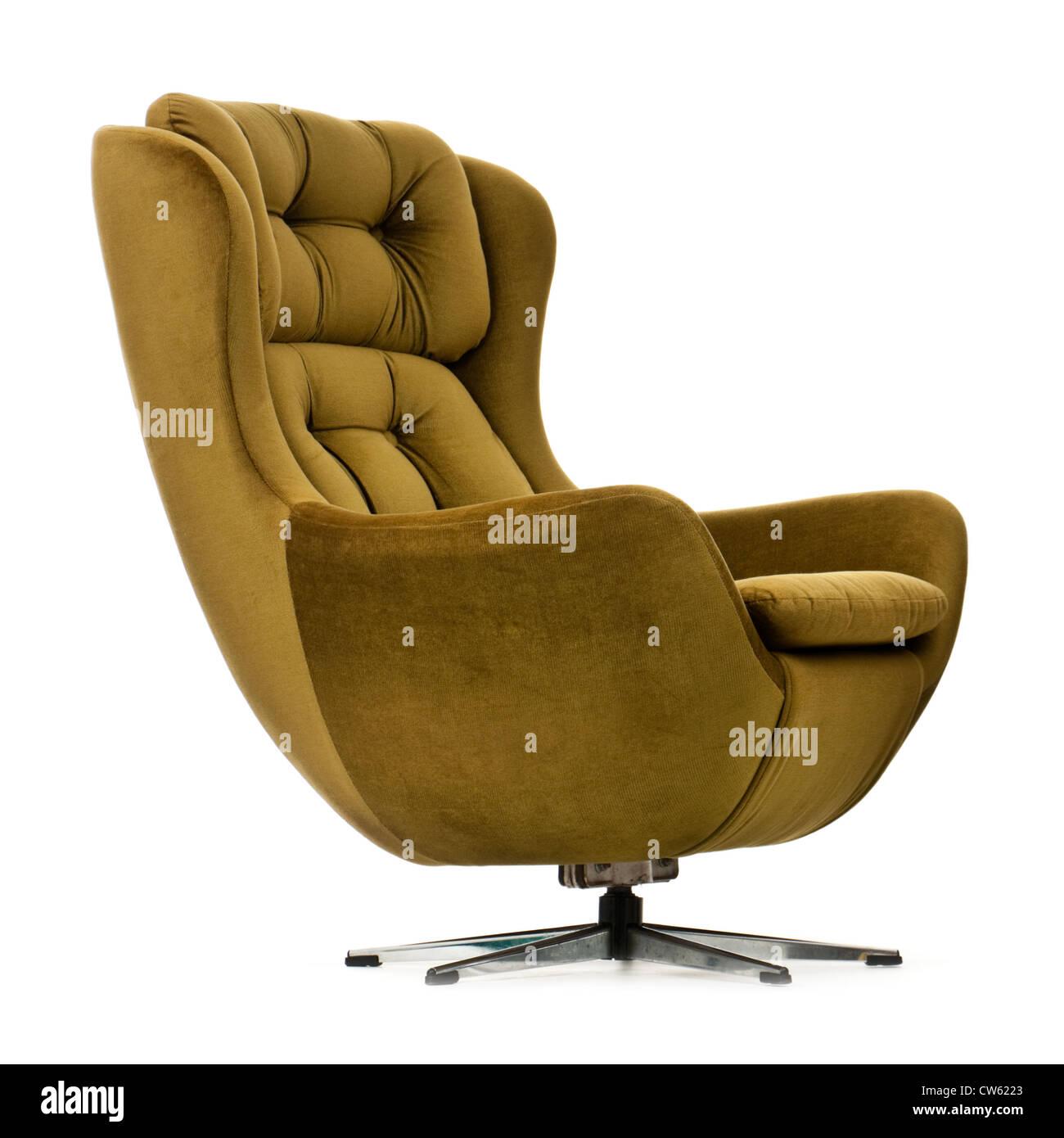 Vintage 1970s swivel and tilt green upholstered egg chair