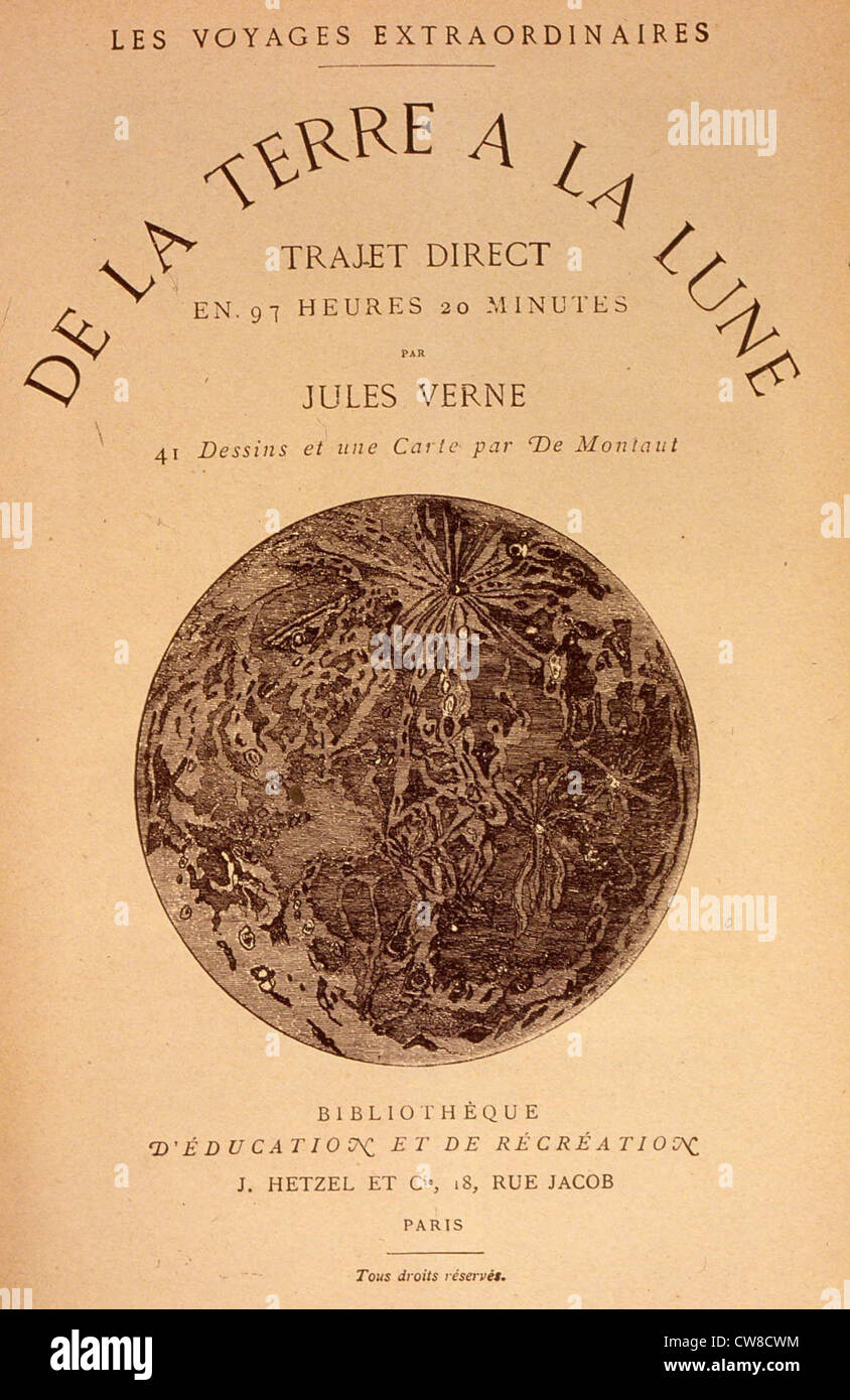 De La Terre à La Lune Jules Verne : terre, jules, verne, Jules, Verne,, 'From, Earth, Moon', (flyleaf, Stock, Photo, Alamy