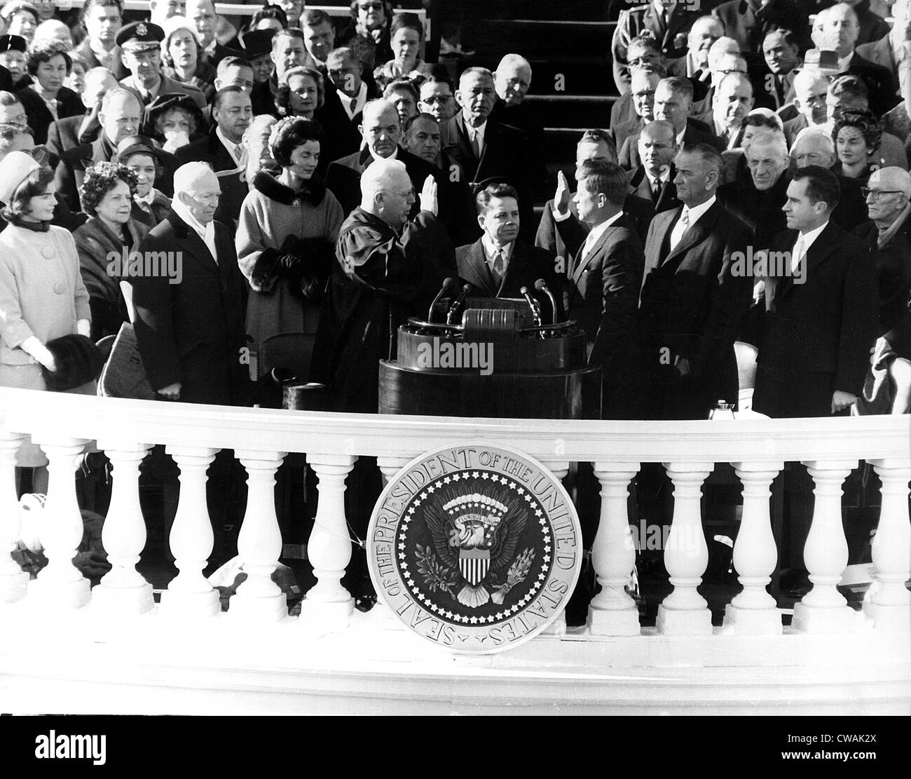 John F Kennedy Being Sworn In As President At His