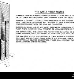 world trade center twin towers diagram detailing operations of elevator dated 04 08 67 courtesy csu archives everett [ 1300 x 1052 Pixel ]