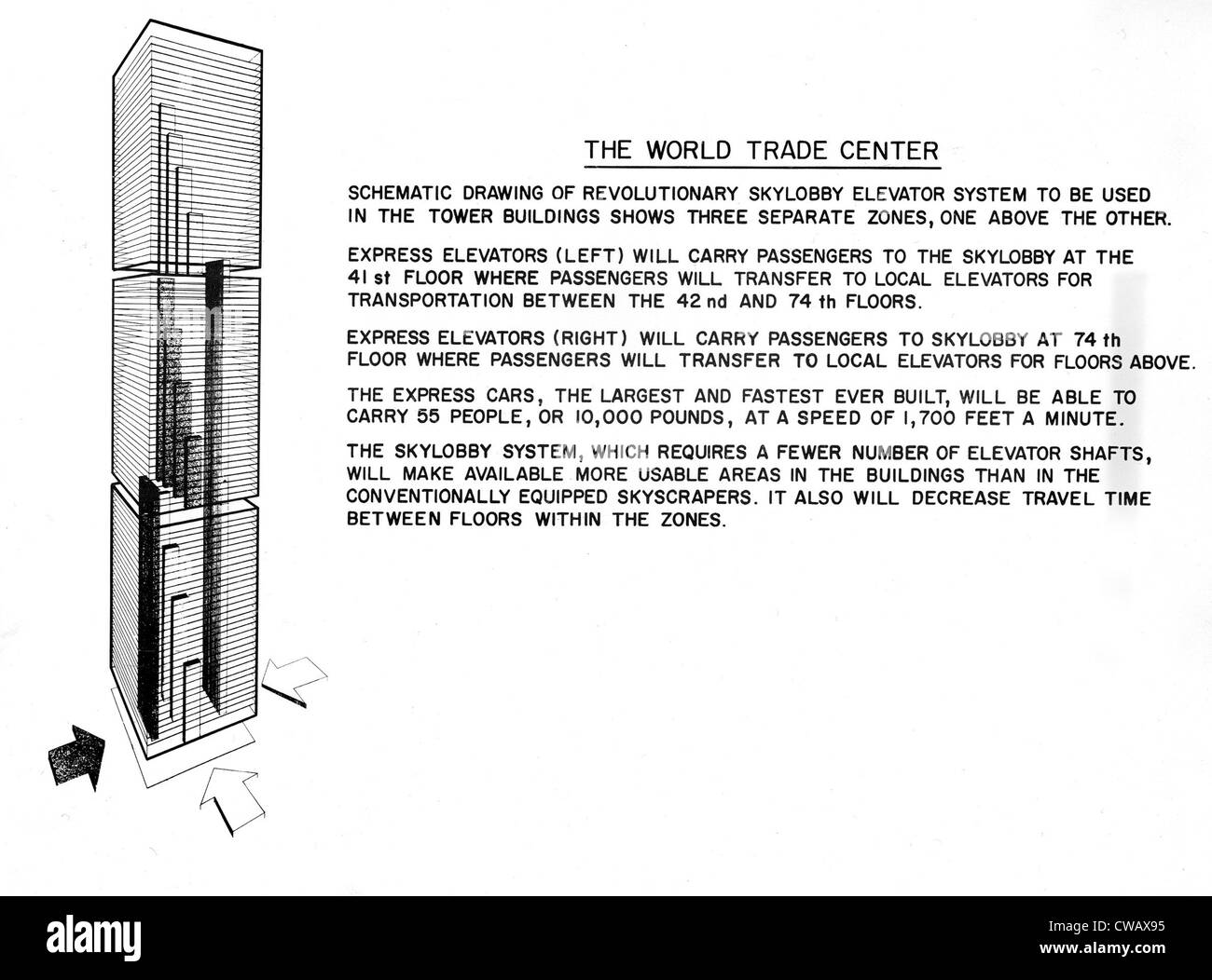 hight resolution of world trade center twin towers diagram detailing operations of elevator dated 04 08 67 courtesy csu archives everett