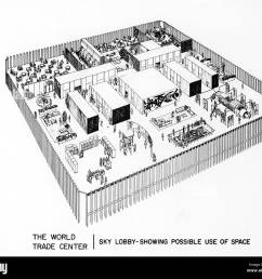 world trade center diagram of proposed use of sky lobby space dated 04 08 67 courtesy csu archives everett collection [ 1300 x 1123 Pixel ]