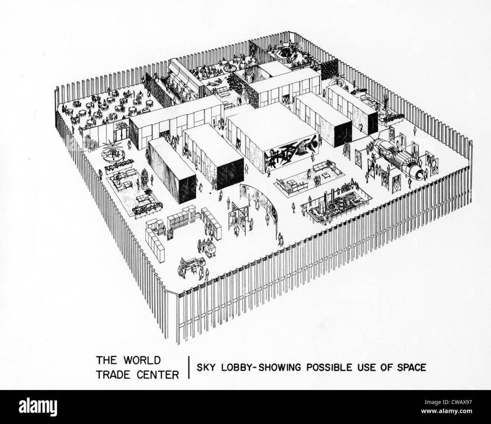 medium resolution of world trade center diagram of proposed use of sky lobby space dated 04 08 67 courtesy csu archives everett collection